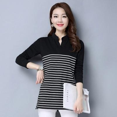Spring winter autumn blouse Long sleeve striped undershirt Elegant women top sexy female cotton shirt casual office lady shirt