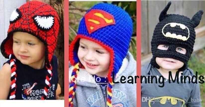 73e5c73d27b 2019 Captain America Superman Spider Man Iron Man Batman Super Hero Crochet  Knitted Caps Infant Toddler Hat Christmas Gift Children Beanie Cotton From  ...