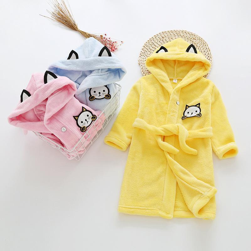 c61e3b9a79a8 Girls Bath Robe Children Bathrobes For Boys Solid Baby Pyjamas ...