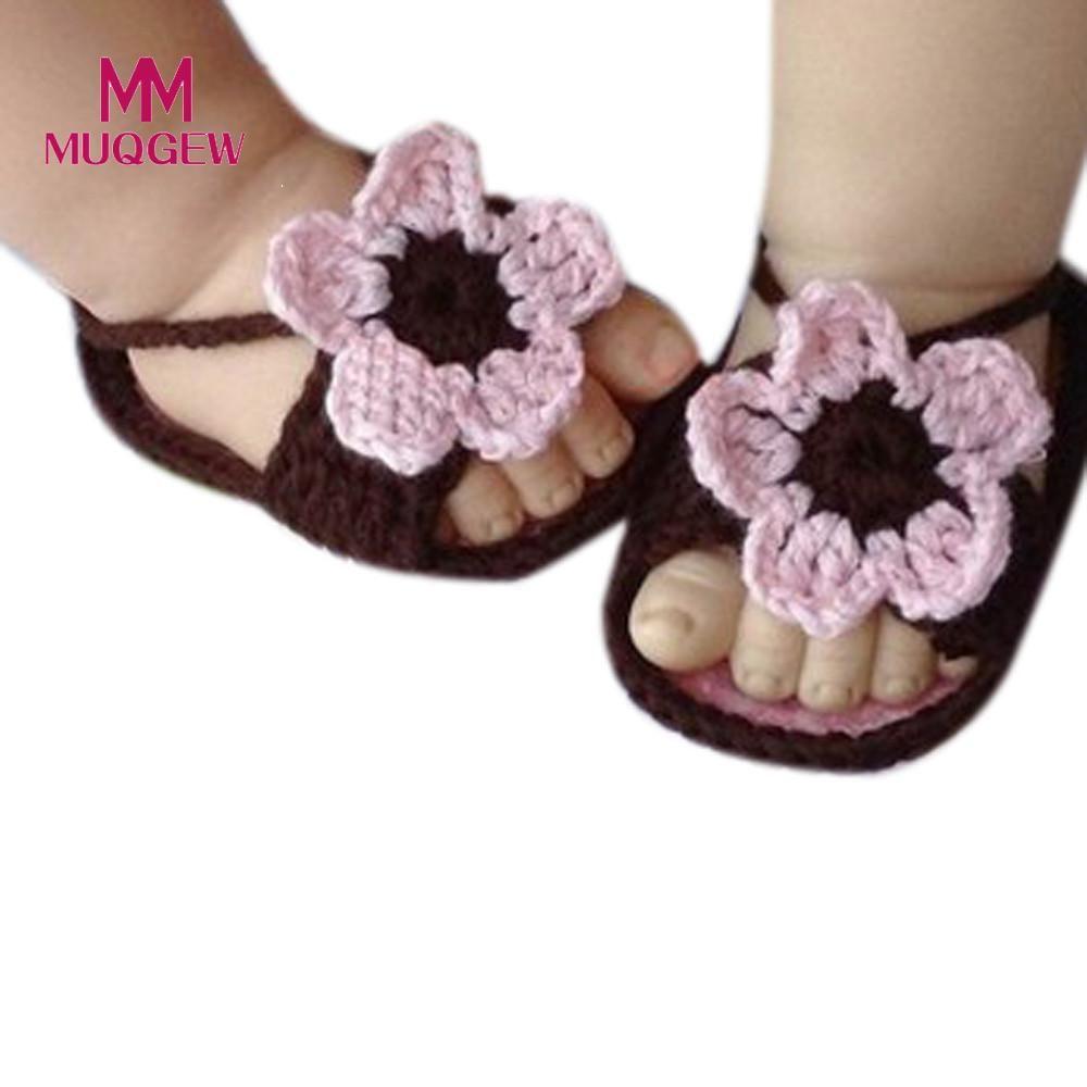 Florwer Verano Crochet De Sandalias Bebé Niñas Baby Hebilla Para Tejer Café Simple Zapatos Ganchillo fg7Y6vIby