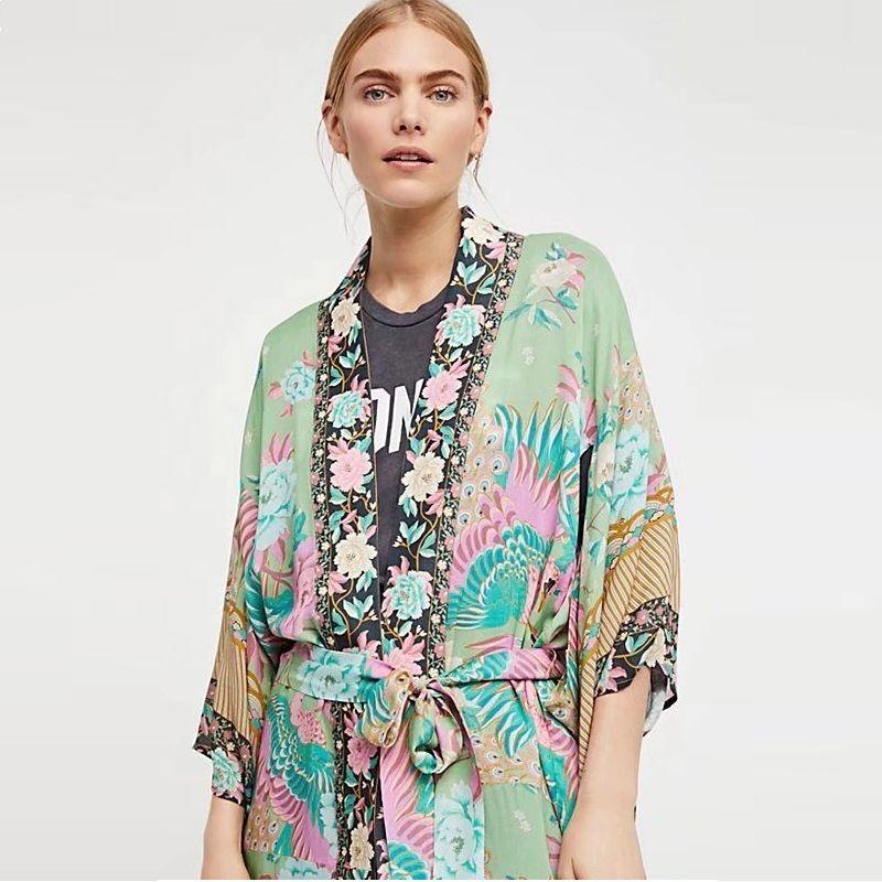 189e0208d9 Summer Women Satin Kimono Cardigan Silk Shirt Female Floral Print Green  Belt Boho Long Beach Bikini Cover Up Blouse Tops