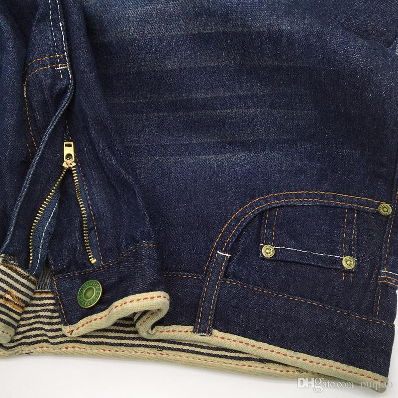 Men Four Seasons Fashion Blue Zipper Middle Waist Micro-bomb Straight Casual Washed Long Jeans US Size 40 US Size 42 Price only for jeans