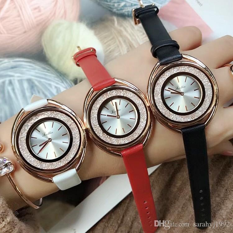 Uhr Quicksand Gold Shell Rose Neue Damenuhr Scottie Damen Abschnitt Lederband Einfache Mode OZ0n8wPXNk