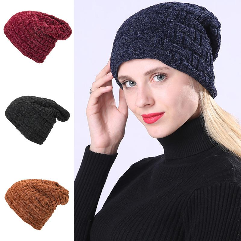 82fdd047c95 Autumn And Winter Pure Color Chenille Yarn Knitted Women s Hat Men s ...