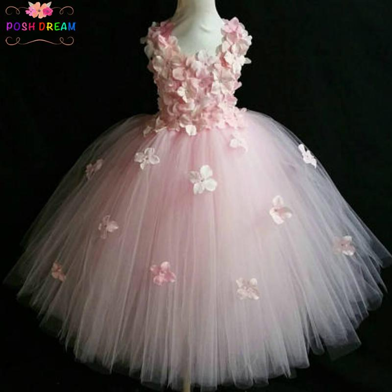 575875979 2019 POSH DREAM Light Pink Flower Tutu Dress For Wedding Party Yellow And  Aqua Blue Flower Children Kids Party Dress Kids Clothes From Redeye, ...