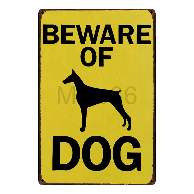 Mike86 Beware Of DOG Metal Sign Home Hotel Wall Painting Plaque Room ...