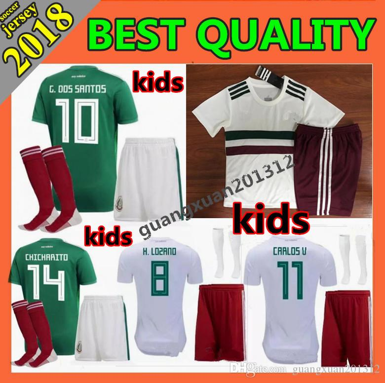 1584cc54232 Kids Kit 2018 World Cup Mexico CHICHARITO Soccer Jersey G.DOS SANTOS ...