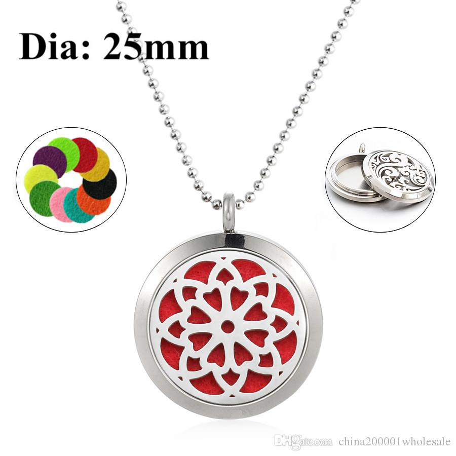 Flower of life 25mm Twist Screw Aromatherapy Essential Oil Locket 316L Stainless Steel Perfume Diffuser Necklacefree 60cm chain and pads