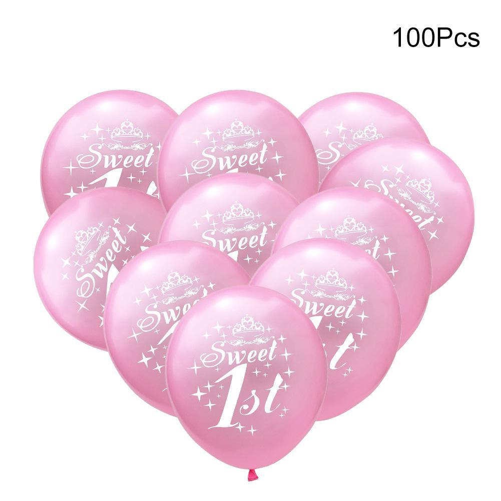 1st Birthday Balloons Crown Pink Sweet Number 1 Year Old Latex Balloon Baby Party Decoration Ballon In Helium