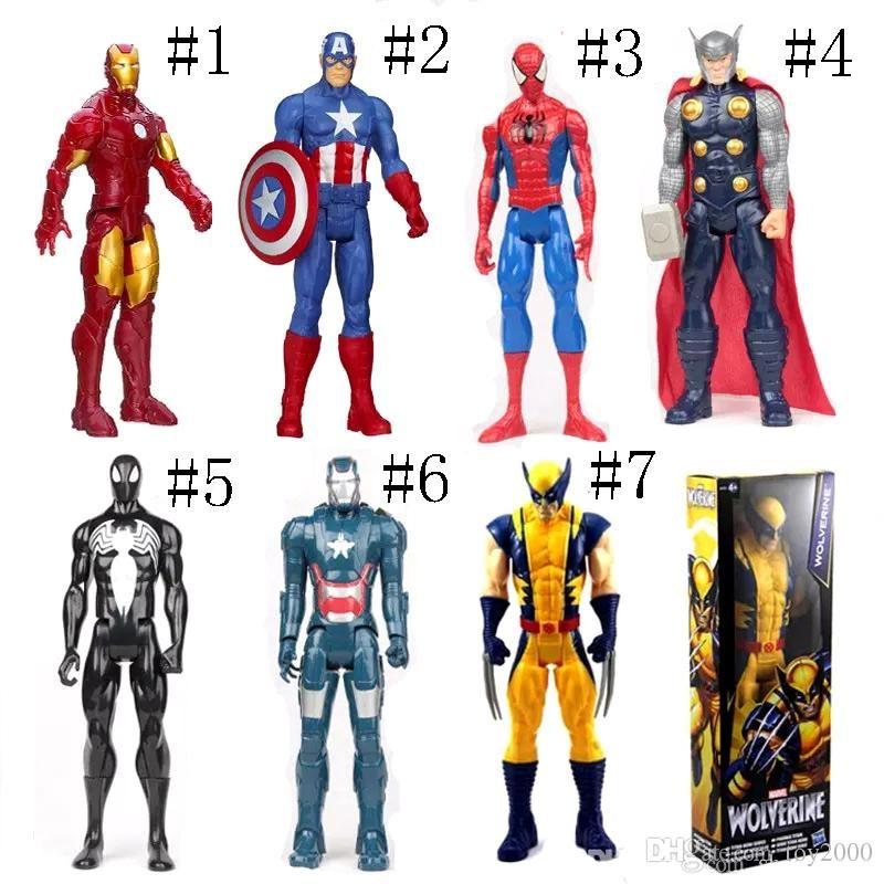 Os Vingadores Pvc Figuras De Ação Marvel Heros 30 Cm Homem De Ferro Spiderman Capitão América Ultron Wolverine Figura Brinquedos