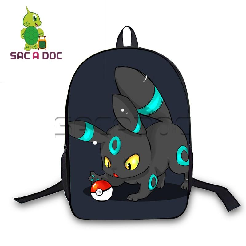 bb5f0e9b5a6d 16 Inch Backpack Boys Girls School Bags Chibi Umbreon Eevee Backpack for  Teenagers Students Daily Bags Gift