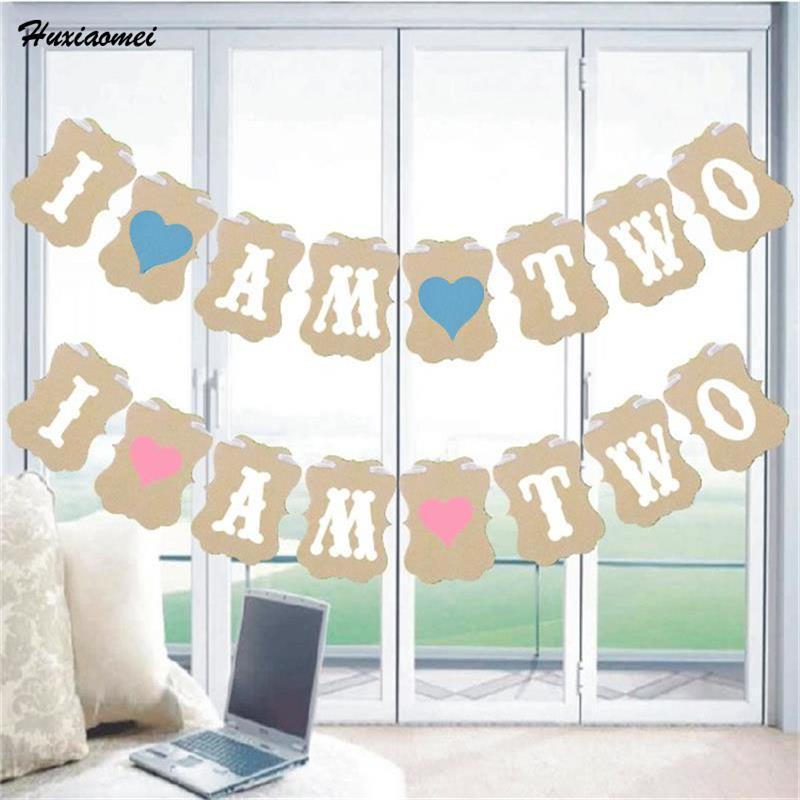 2019 Huxiaomei I Am Two Black Kraft Paper Banner My 2nd Birthday Baby Boy Girl Party Decorations Second Year Bunting Garland PinkBlue From Anzhuhua