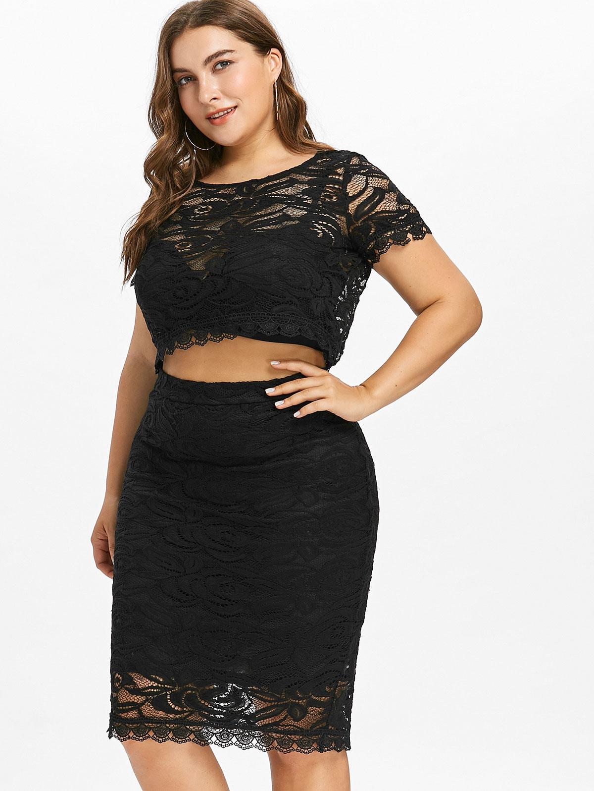 2019 Gamiss Plus Size Lace Two Piece Women Set Summer Short Sleeves O Neck  Crop Top Bodycon Set 2018 New Fashions Women Suit From Avive b5e8181128ce