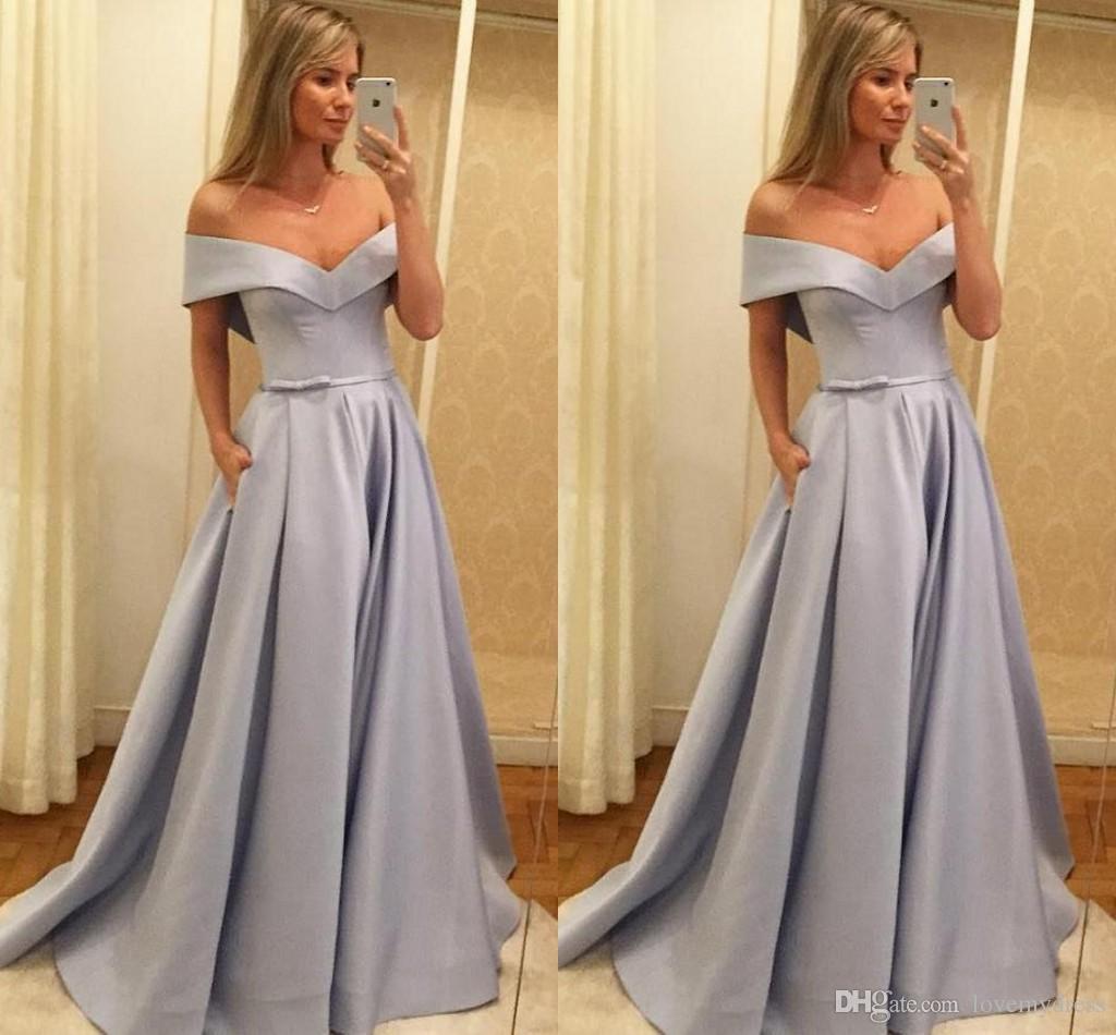 1468e5b9cb8e 2019 Grey Off Shoulder Formal Dresses Bow Ribbon Open Back Satin Simple Prom  Dress Evening Gowns Red Carpet Dress Custom Made Cheap Prom Dresses Canada  Cute ...
