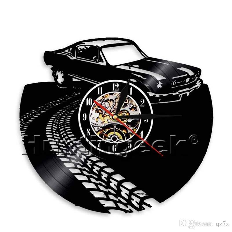 Car Drift Vinyl Wall Clock Simple Modern Home Decor Crafts Creative