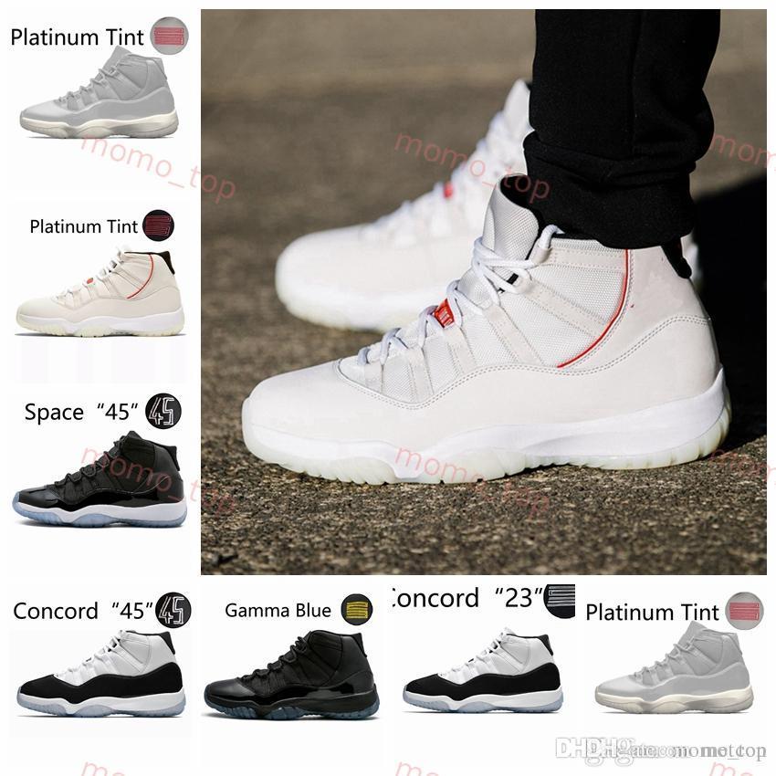 79f11675c92 Acquista 2019 Marca Platinum Tinta 11 11 S Concord 45 Scarpe Da Basket Uomo  Alto Nero Bianco Rosso Donna Uomo Formatori Sportivo Sneakers Di Design  Taglia ...