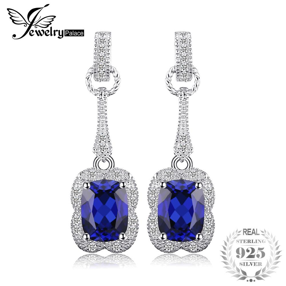 JewelryPalace Elegant Rectangle 3.7ct Created Sapphire Drop Dangle Earrings 925 Sterling Silver Brand Jewelry For Women Hot Sale