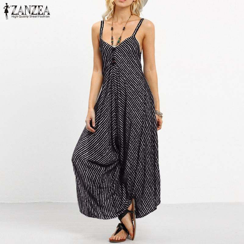 18f5bc0cb41 2019 ZANZEA Summer Rompers Womens Jumpsuit 2018 Fashion Striped Long  Playsuit Casual Loose Sexy Backless Overalls Plus Size Hot SaleY1882902  From Tao02