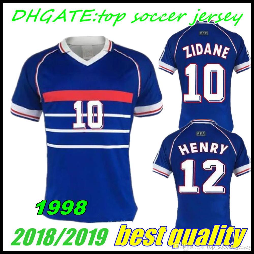 9c4c52fcb Compre 1998 FRANÇA RETRO VINTAGE Camisolas De Futebol ZIDANE HENRY MAILLOT  DE FOOT Tailândia Uniformes De Qualidade Camisa De Futebol Camisa De ...