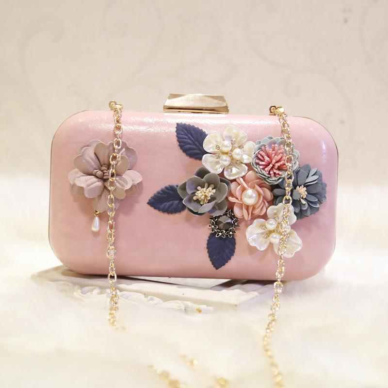 Pink White Women Flower Clutch Crystal Bag Famous Brand Clutches Evening Bags Shoulder Crossbody Bags with Luxury Pearl