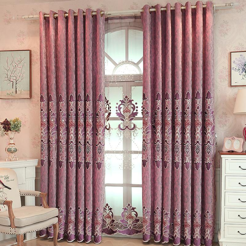 Curtain fabric window screen bedroom high blackout curtain fabric laser  embroidered velvet