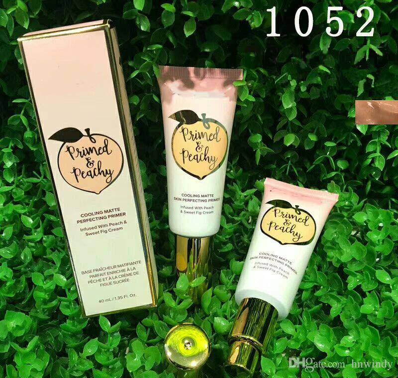 DHL Free Newest Primed Peachy Cosmetics 40ML Cooling Matte Skin Perfecting Primer Infused with Peach&Sweet Fig Cream Faced Foundation Primer