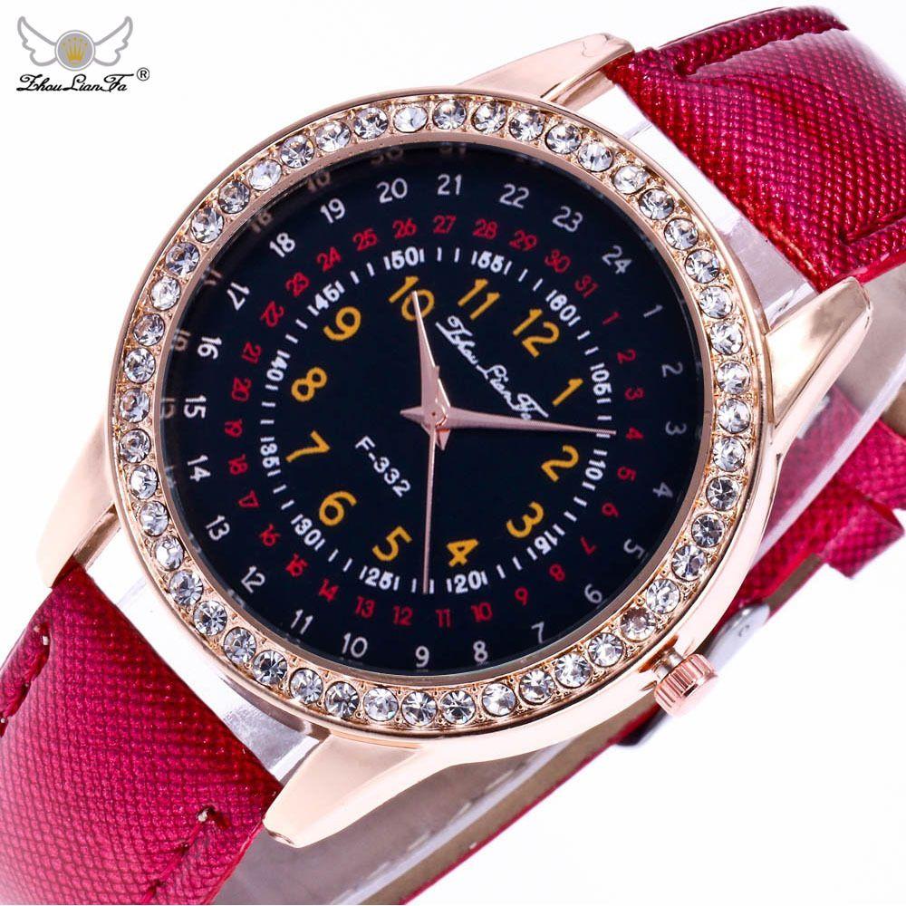 e243fbc247a Casual Four Laps Relogio Digital Dial Rose Gold Diamond Alloy Dial Red  Leather Strap Ladies Couple Sport Quartz Watch Women C467 Online Shopping  Shoes ...