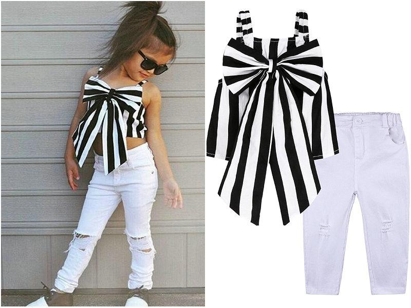 fd98e09b0a77d Acheter Toddler Kids Girl Clothing Ensembles Rayé Big Bow T Shirt Crop Top  + Long Trou Jeans Pantalons Tenues Vêtements Pour Enfants De  9.42 Du  Balala baby ...