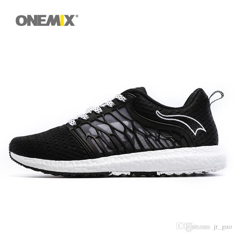 fe43cda50649 ONEMIX Man Running Shoes For Men Soft Sole Lightweight Athletic Trainers  Mens Breathable Mesh Sport Shoe 2018 Black Outdoor Walking Sneakers