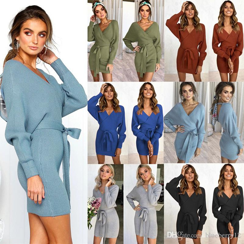 6 Colors Women Long Sleeve Dress Deep V Slim Fit Mini Bodycon Dresses Knit Sweaters S - XL