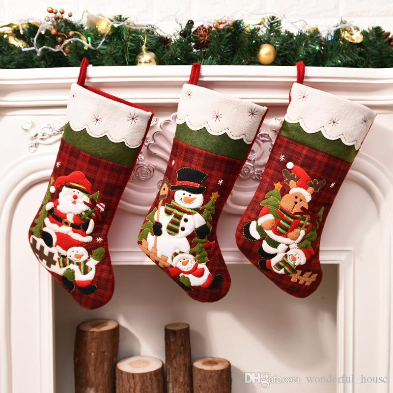 2018 Christmas Candy Gift Bags Christma Santa Claus Snowman Socks ...