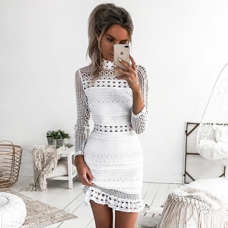 quality design 5d1cf b389d Sommer Herbst Kleid 2017 Frauen Casual Strand Kurzes Kleid Weiß Mini Spitze  Patchwork Kleid Sexy Party Kleider Vestidos Y1890810