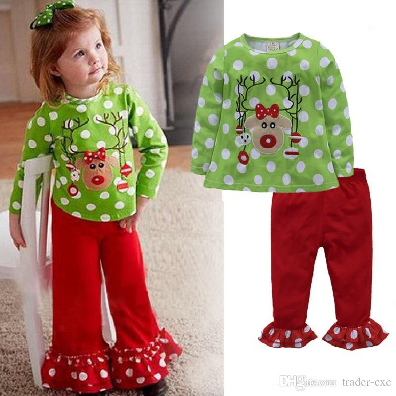 Cheap Christmas Holiday Outfits Cute Red Green Christmas Outfits - 2018 Baby Girls Christmas Costumes Clothes Suits Reindeer Children T