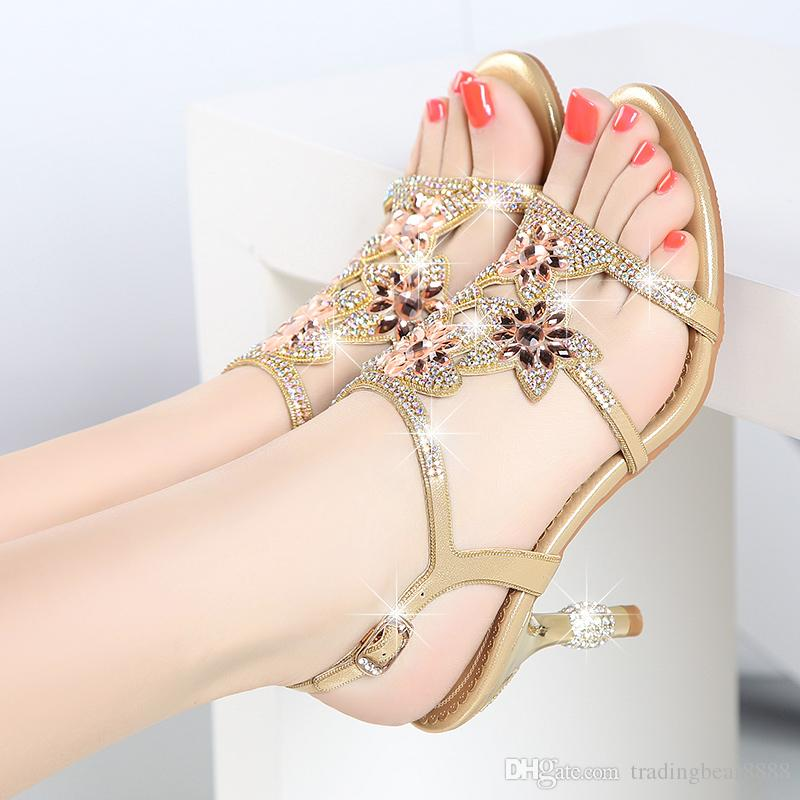 Female sandals summer 2018 new diamond heels elegant and comfortable with crystal with brick teeth for women's shoes