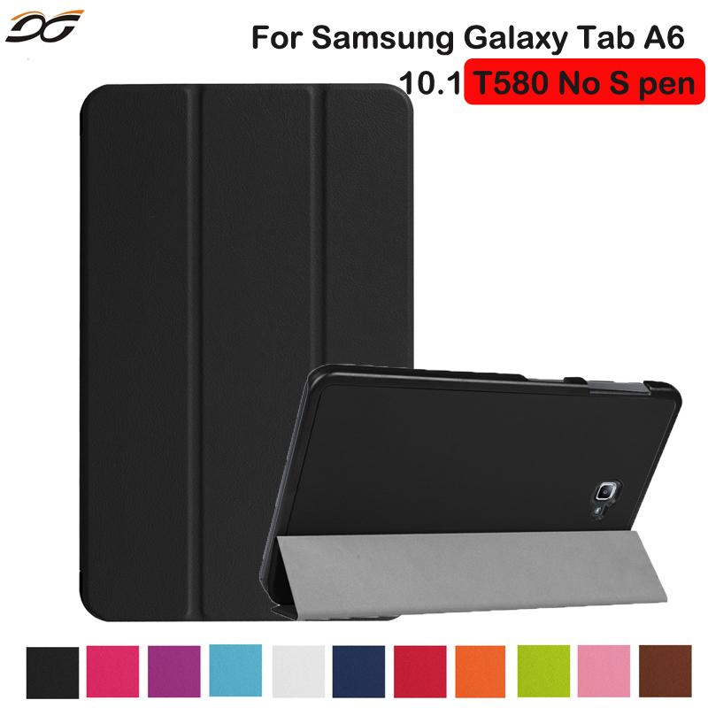 finest selection 53f68 ae9e7 For Samsung Galaxy Tab A 10.1 without S Pen T580/T585 Case 10.1inch  Protective Folding Stand Case Cover for Samsung Tab A6 10.1