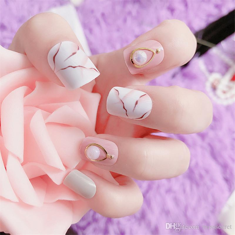 6Styles 3D Marble Fake Nails French Acrylic Nails Glittering False Nail Finger Tips Artificial Nail Art Tips Full Nail Tips