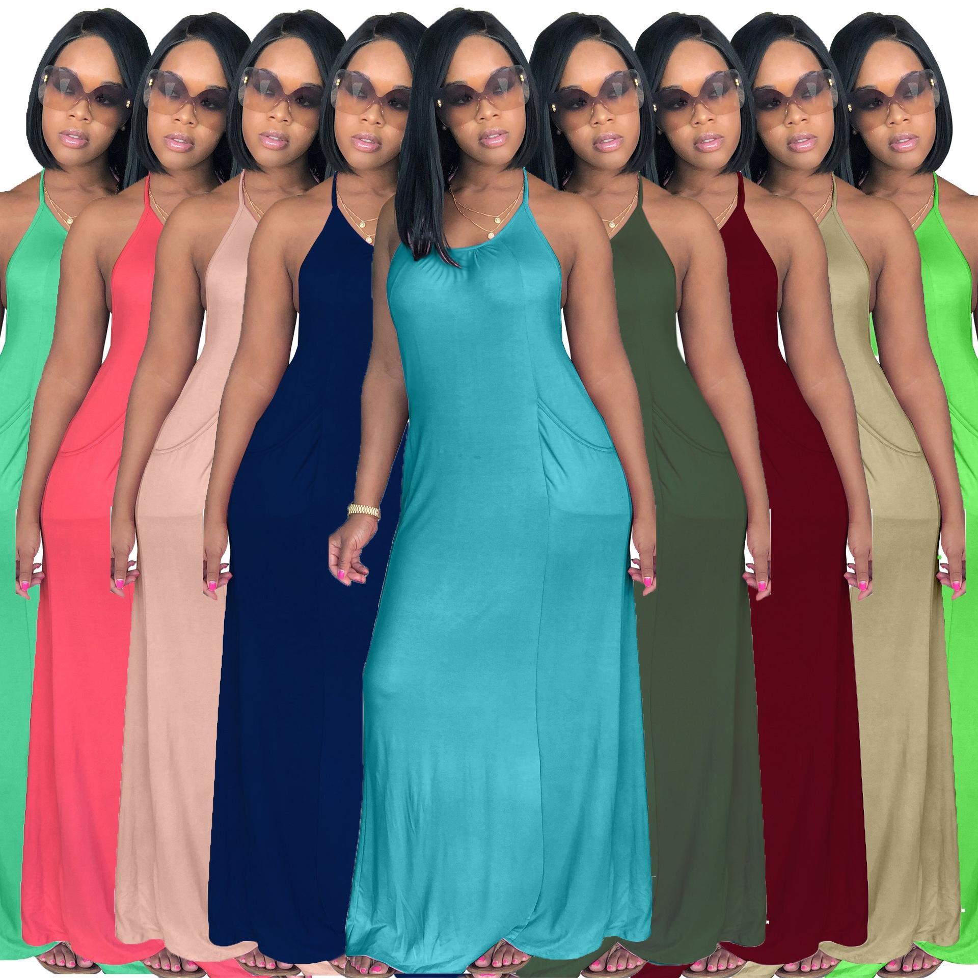 2af6f7908b Summer Women Casual Halter Maxi Dresses Solid Stretchy Cute Sleeveless  Loose Jumpers Backless Long Base Dress Elegant Primer Dresses Junior  Cocktail Dresses ...