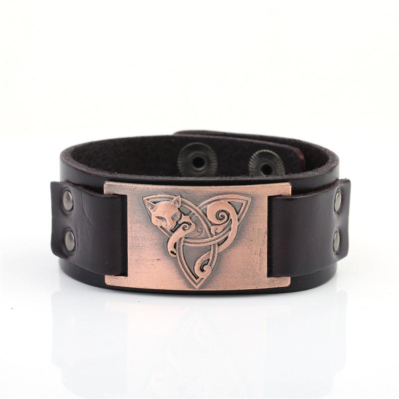 Viking Leather Wristband Bracelet Vintage Fox Mental Accessories