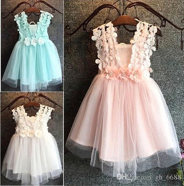 Summer Lovely Baby flower girl dress Princess Pageant Lace Tulle Little Girls Abiti occasioni speciali
