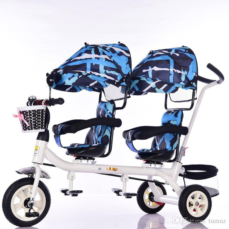 دراجة ثلاثية العجلات بريميوم للأطفال ، توأمان ، عربة ، مقعد دوار بمفتاح واحد ، دراجة قابلة للطي للأطفال