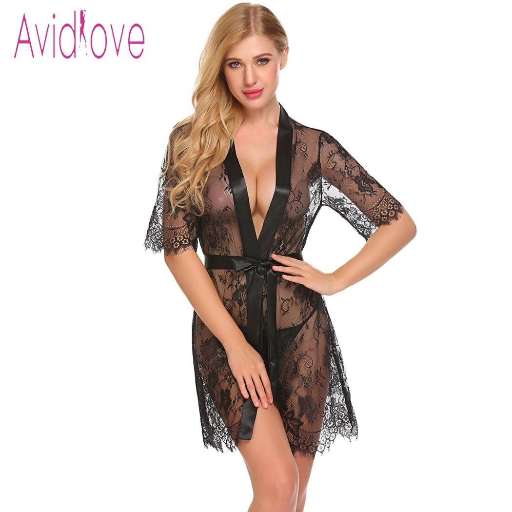 5fade94f29 Avidlove Sexy Lingeire Women Sexy Sheer Lace Lingerie Robe Short Sleeve  Nightwear With G String D18110801 Boys Flannel Pajamas Boys Lounge Pants  From ...
