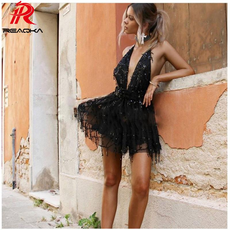 365b6349d727 Reaqka Sexy Sequined Dresses Women Backless Halter Black Gold Mini Dress  Party 2018 New Arrivals Tassel Summer Dress Club Wear Junior Cocktail Dresses  Gold ...