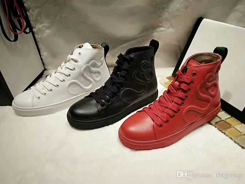 ec09d94df5f Acheter 2018 Dernières Designer De Mode Sneakers En Cuir Haut De Gamme  Chaussures En Colère Chat Serpent Tigre Dragon Sneaker Pour Hommes Femmes  Taille 35 ...