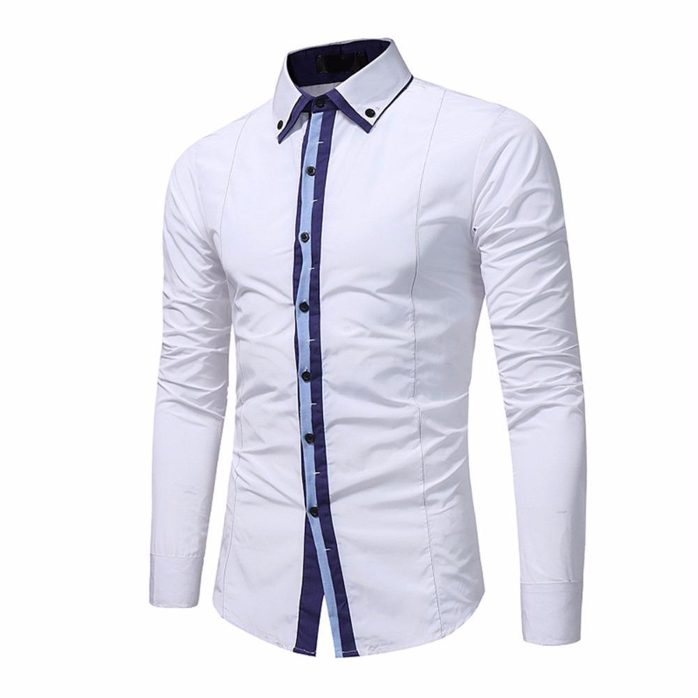 00842ab7e0 Compre Homens Camisa Branca Camisa De Vestido De Manga Longa Slim Fit Camisa  Masculina Marca Casual Masculino Camisas Havaianas Para Mens Plus Size De  ...