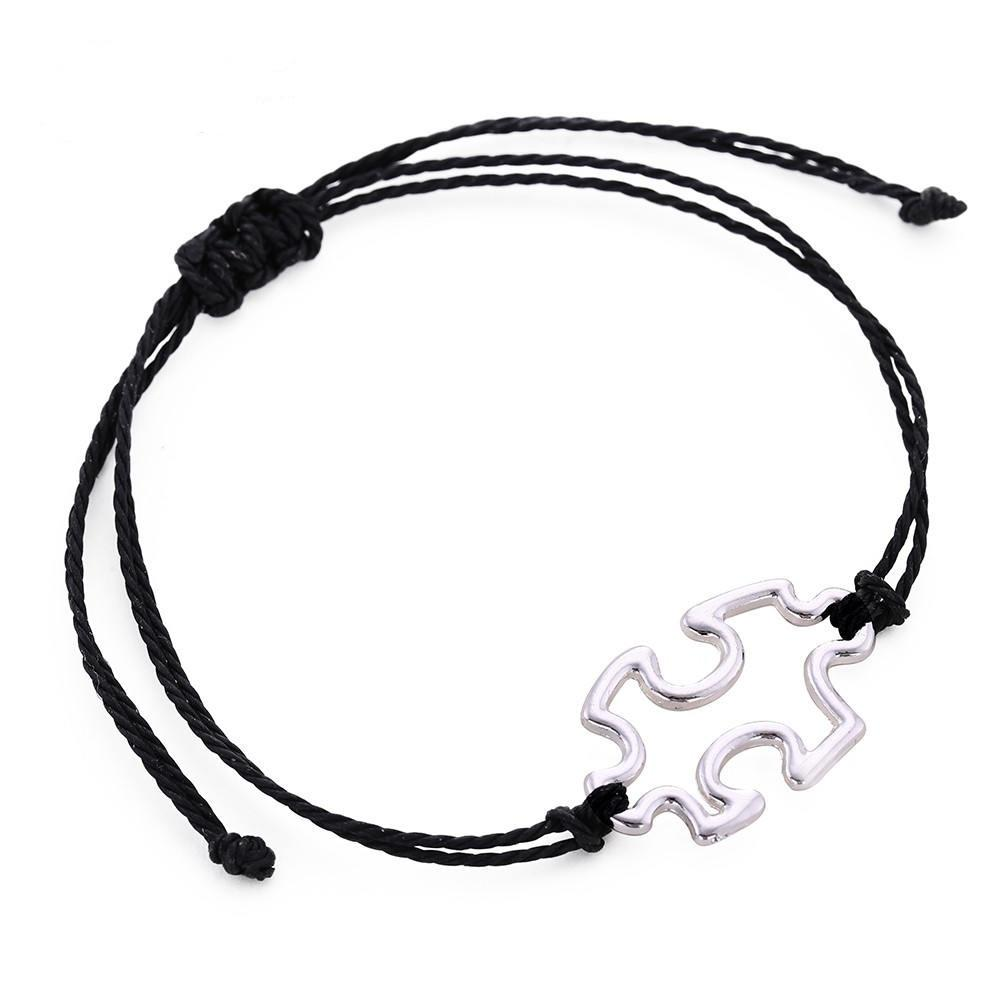 a25b746cae16 Skyrim Fashion Puzzle Piece Charm Pulseras Cuerda Simple Cuerda Pulsera  Ajustable para Hombres Mujeres Joyería de Moda Regalo