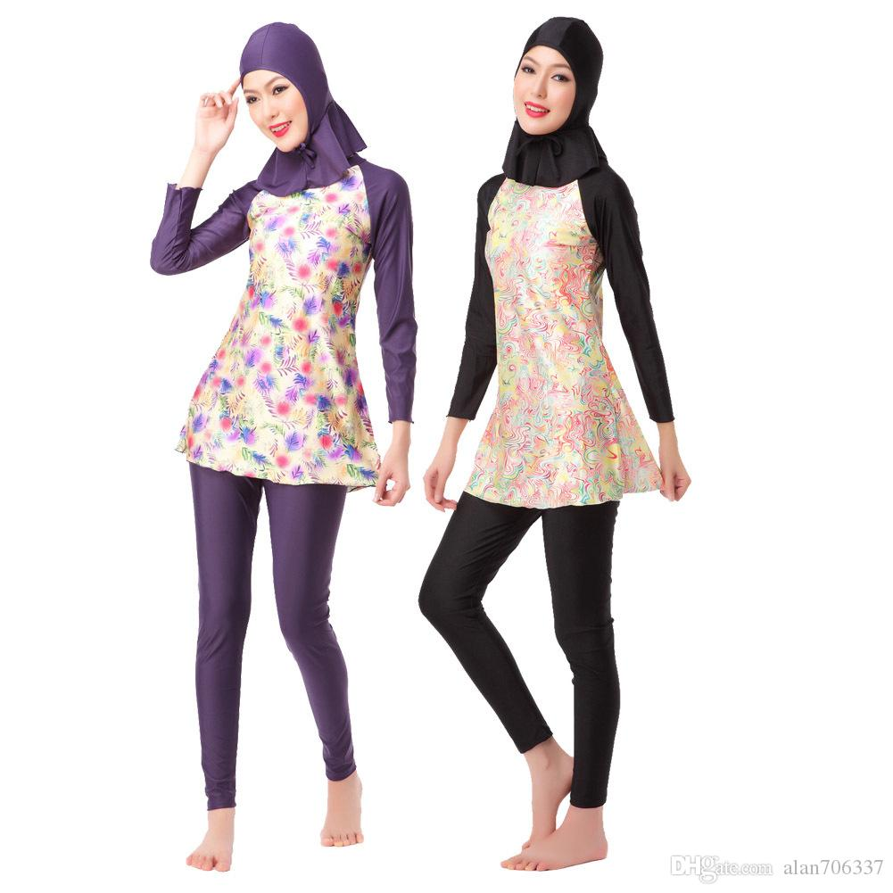 a28370ac9ad85 2019 Woman Floral Islamic Swimsuits Muslim Swimwear Female Sunscreen  Beachwear Long Sleeve Bathing Suit Hooded Tops And Pants XX 396 From  Alan706337, ...