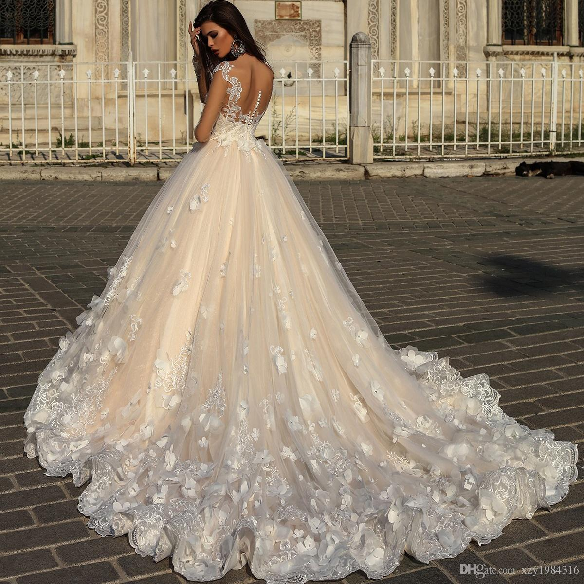0f56da27d969 2018 Enchantment A Line Tulle Wedding Gown Sexy Sheer Long Sleeves Floral  Lace Applique Bridal Dress Crystal Design Couture Wedding Dresses Canada  2019 From ...