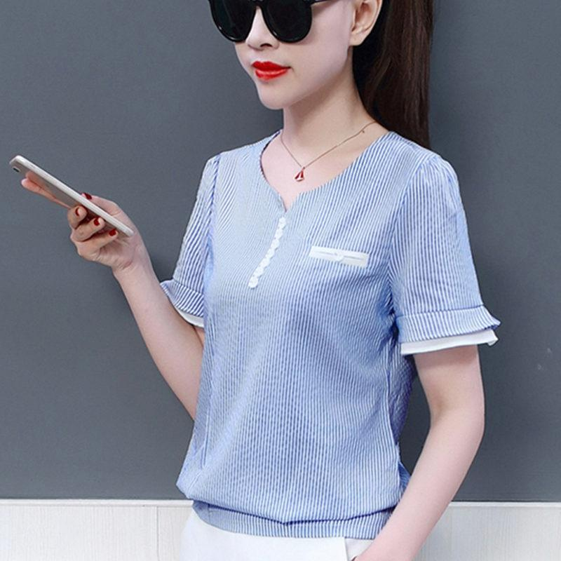 42cbf3f69d7 New Fashion Striped Blouse Women Shirts Blouses 2018 Summer Top ...