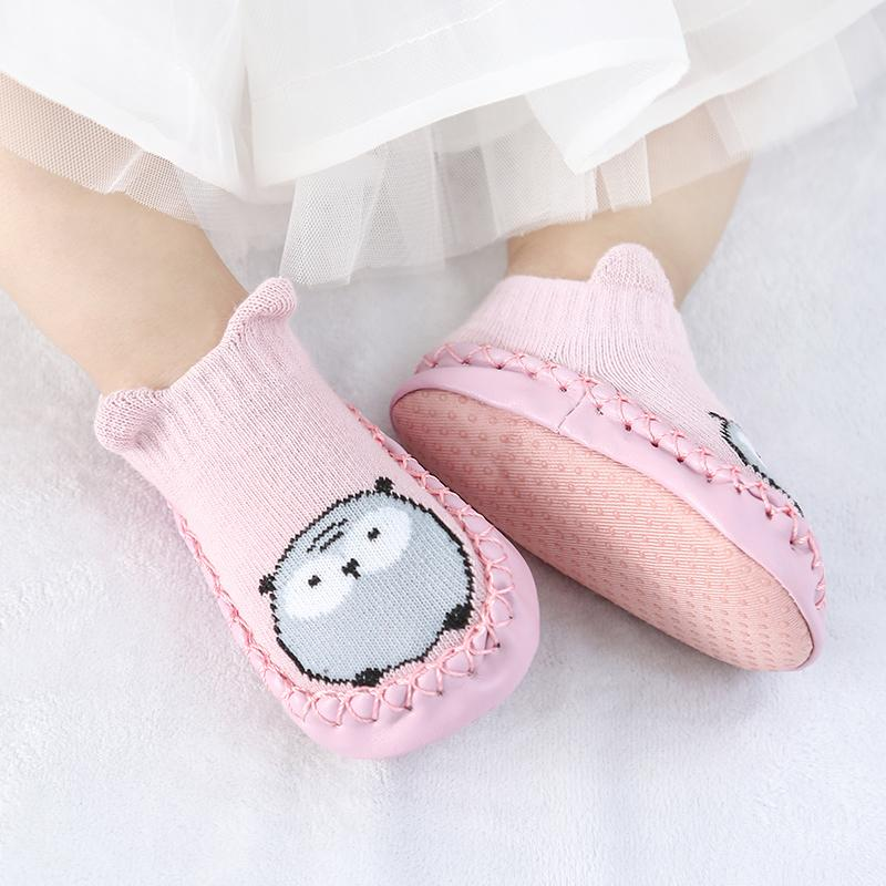Baby Socks With Rubber Soles Cute Bear Cotton Anti Slip Soft Sole