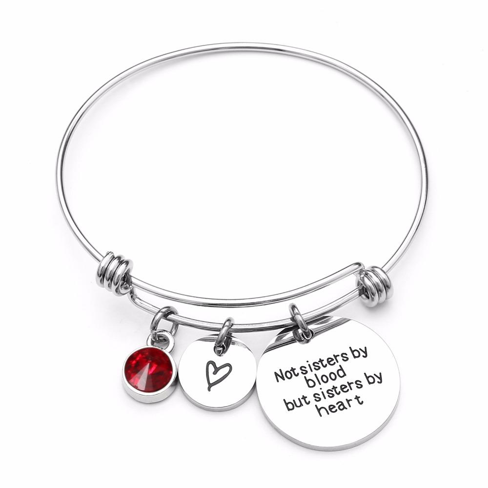 Best Friend Birthday Gift Birthstone Charm Bracelet For Women Stainless Steel Friendship Bangle With Quote Sister Childrens Silver